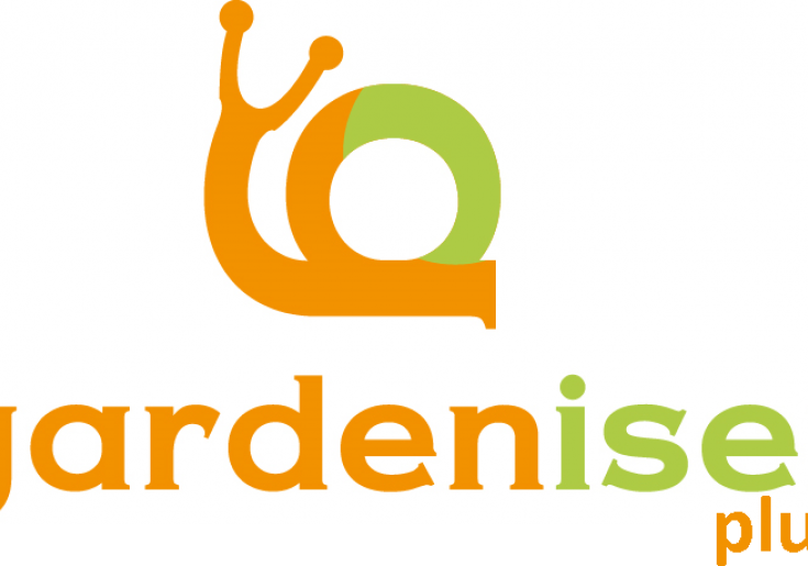 Logo gardeniser plus (grün-orange Schnecke)